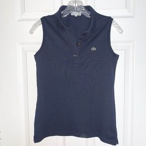 Lacoste Navy Blue Sleeveless Polo - Size S